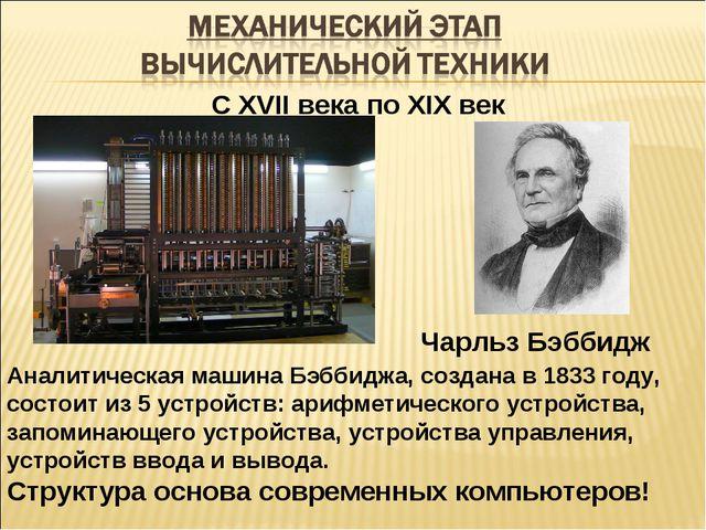 С XVII века по XIX век Аналитическая машина Бэббиджа, создана в 1833 году, со...
