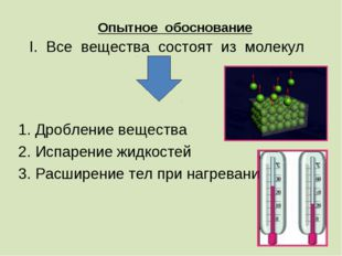 Опытное обоснование I. Все вещества состоят из молекул 1. Дробление вещества