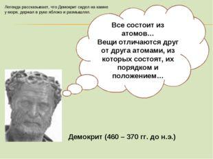 Демокрит (460 – 370 гг. до н.э.) Все состоит из атомов… Вещи отличаются друг