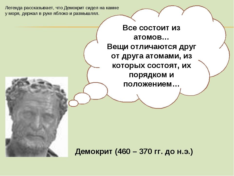 Демокрит (460 – 370 гг. до н.э.) Все состоит из атомов… Вещи отличаются друг...