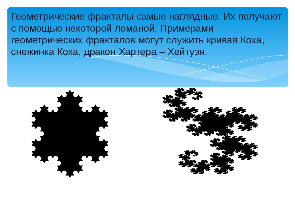 Геометрические фракталы самые наглядные. Их получают с помощью некоторой лома...