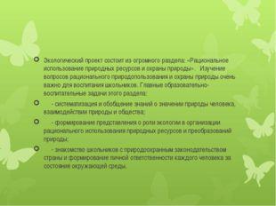 Экологический проект состоит из огромного раздела: «Рациональное использован
