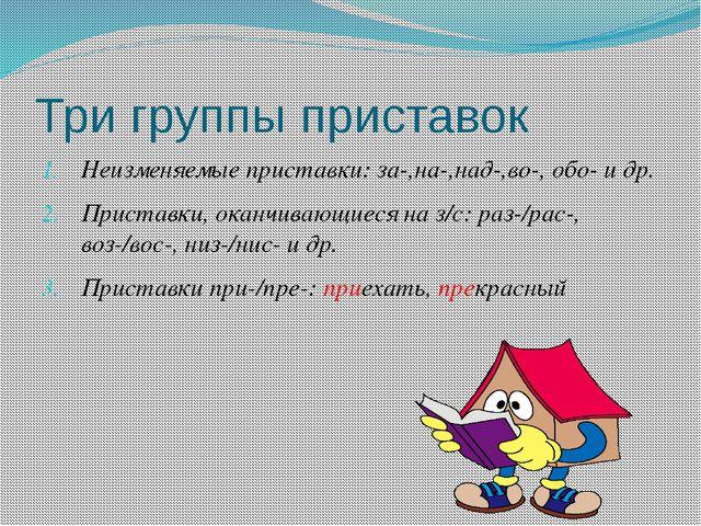 Три группы приставок Неизменяемые приставки: за-,на-,над-,во-, обо- и др. При...