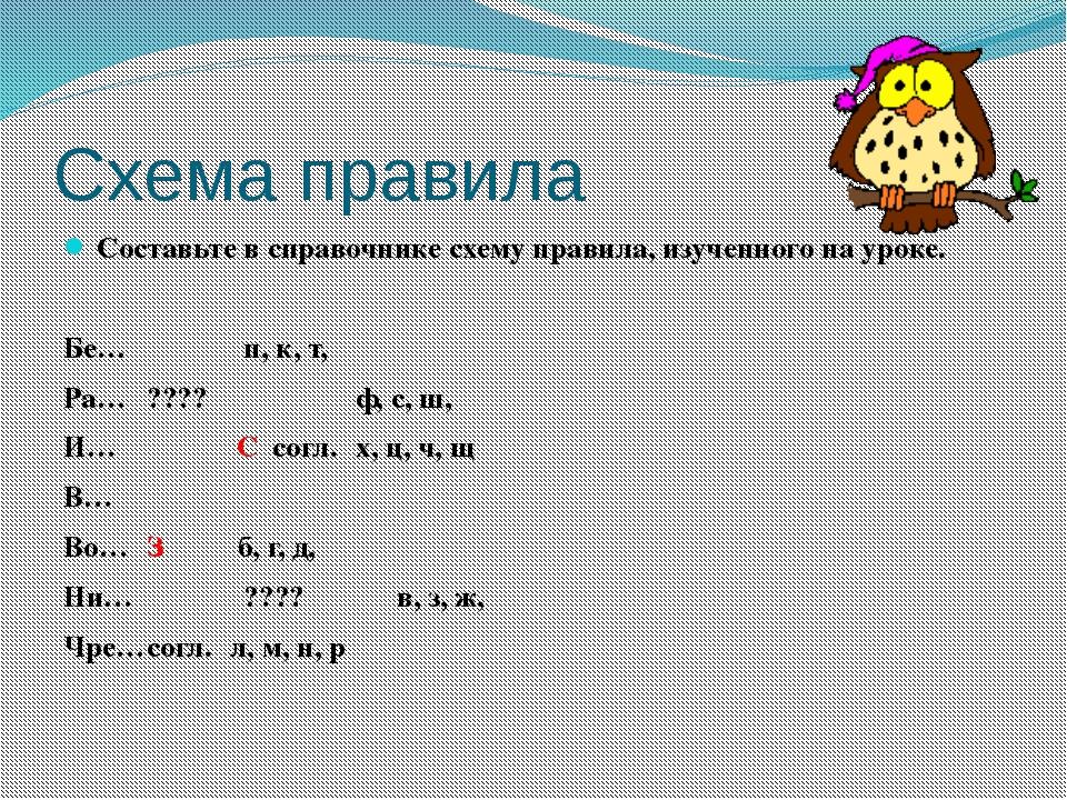 Схема правила Составьте в справочнике схему правила, изученного на уроке.  Б...