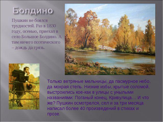 Пушкин не боялся трудностей. Раз в 1830 году, осенью, приехал в село Большое...