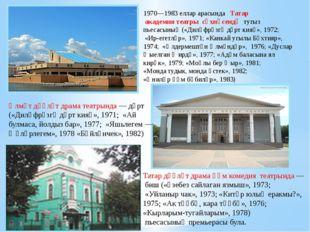 1970—1983 еллар арасында Татар академия театры сәхнәсендә тугыз пьесасының («