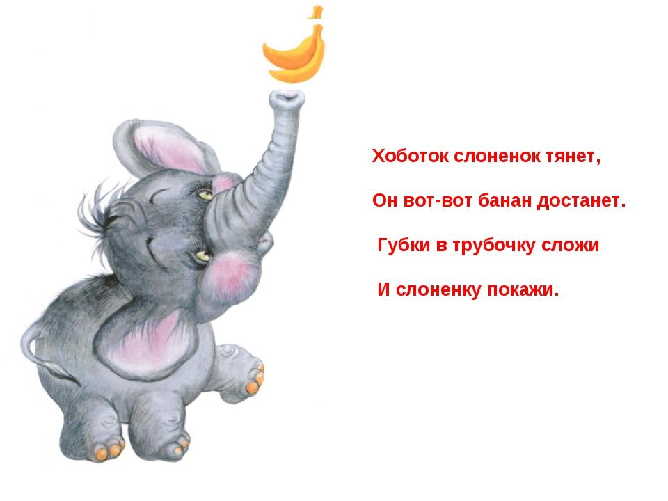 Хоботок слоненок тянет, Он вот-вот банан достанет. Губки в трубочку сложи И с...
