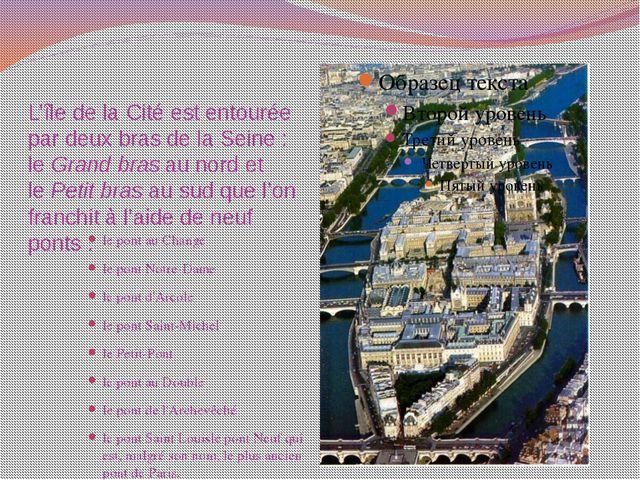 L'île de la Cité est entourée par deux bras de la Seine: leGrand brasau no...