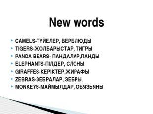 CAMELS-ТҮЙЕЛЕР, ВЕРБЛЮДЫ TIGERS-ЖОЛБАРЫСТАР, ТИГРЫ PANDA BEARS- ПАНДАЛАР,ПАНД