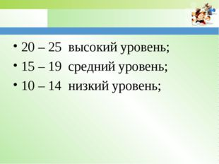 20 – 25 высокий уровень; 15 – 19 средний уровень; 10 – 14 низкий уровень; www