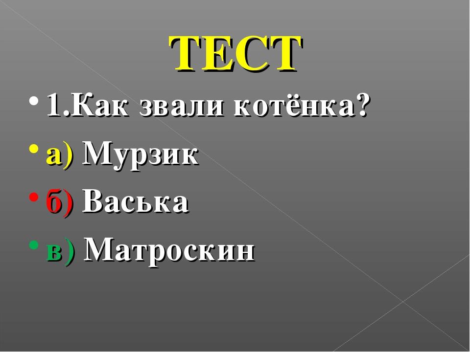 ТЕСТ 1.Как звали котёнка? а) Мурзик б) Васька в) Матроскин