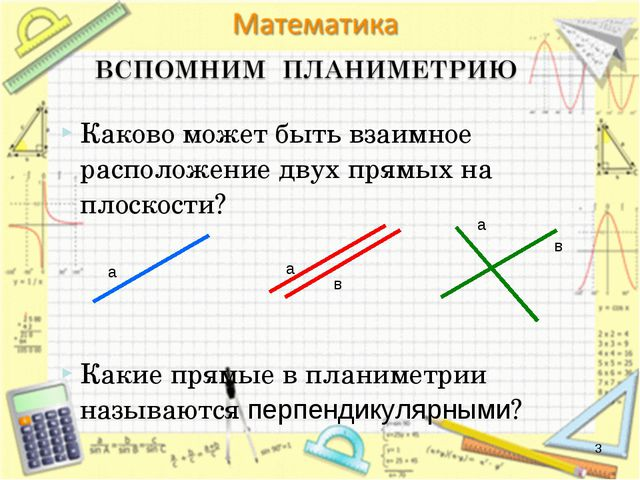 * Каково может быть взаимное расположение двух прямых на плоскости? Какие пря...