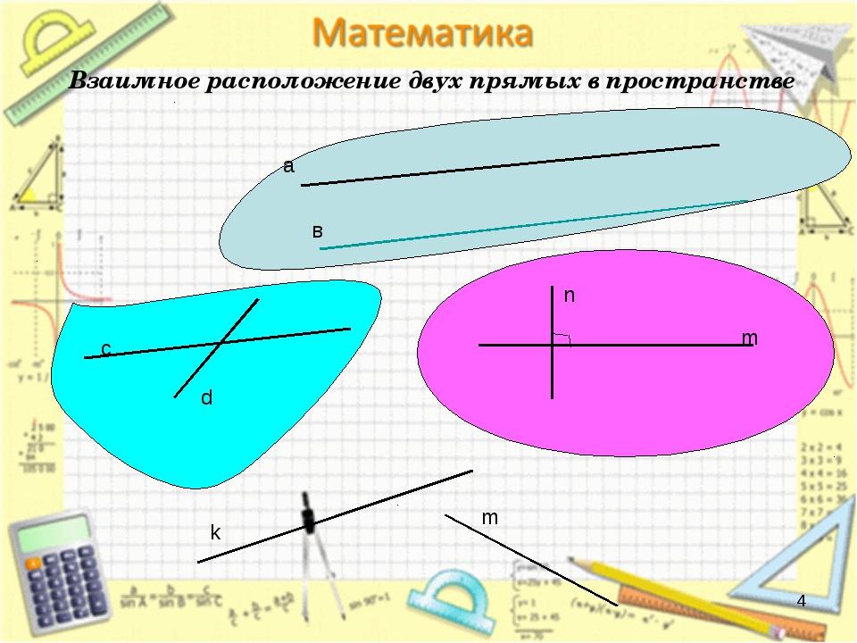 * Взаимное расположение двух прямых в пространстве а в с d m n k m