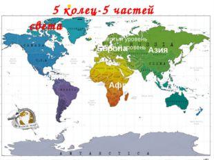 5 колец - 5 частей Света Европа Азия Океания Африка Америка 5 колец-5 частей