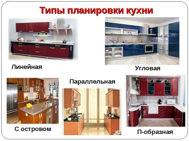 Типы планировки кухни Линейная Угловая П-образная Параллельная С островом
