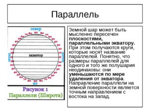 Параллель Земной шар может быть мысленно пересечен плоскостями, параллельными