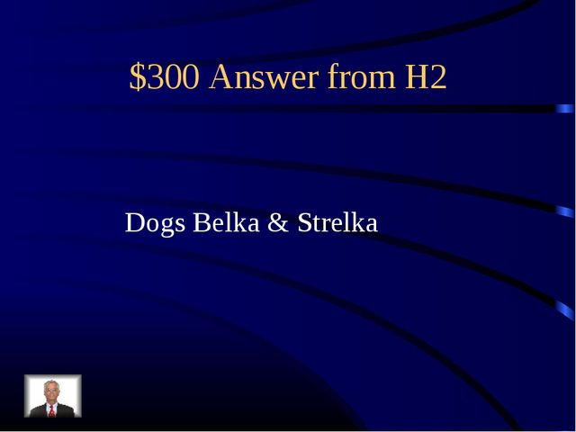$300 Answer from H2 Dogs Belka & Strelka