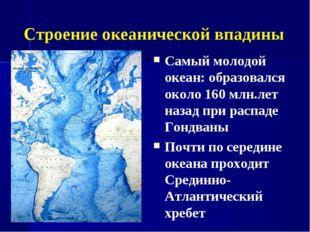 Строение океанической впадины Самый молодой океан: образовался около 160 млн.