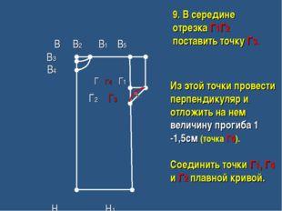 Из этой точки провести перпендикуляр и отложить на нем величину прогиба 1 -1,