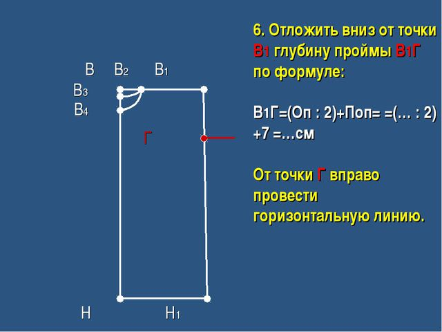 В В2 В1 В3 В4 Г Н Н1 6. Отложить вниз от точки В1 глубину проймы В1Г по форм...