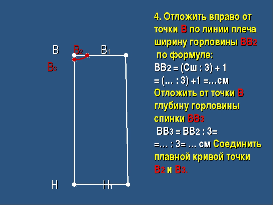 В В2 В1 В3 Н Н1 4. Отложить вправо от точки В по линии плеча ширину горловин...