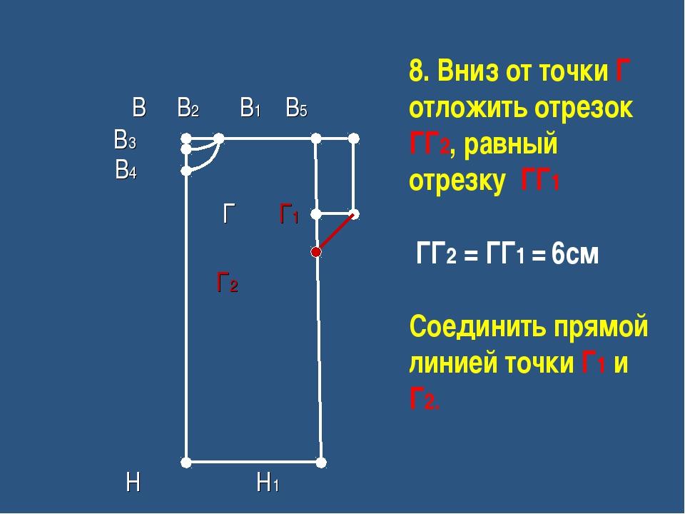 8. Вниз от точки Г отложить отрезок ГГ2, равный отрезку ГГ1 ГГ2 = ГГ1 = 6см С...