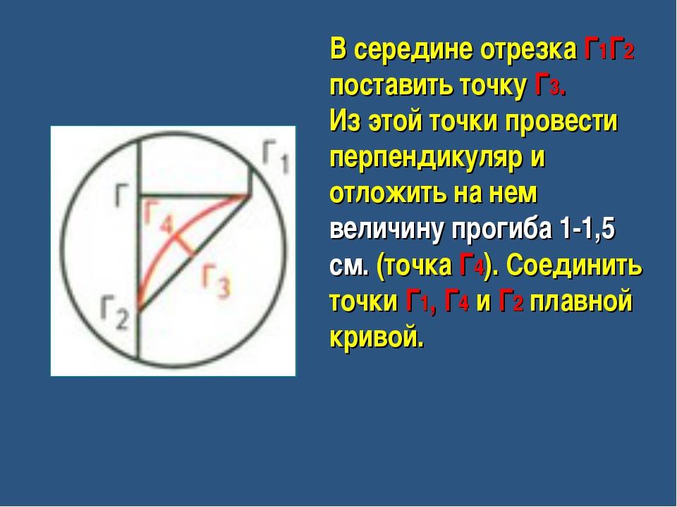 В середине отрезка Г1Г2 поставить точку Г3. Из этой точки провести перпендику...