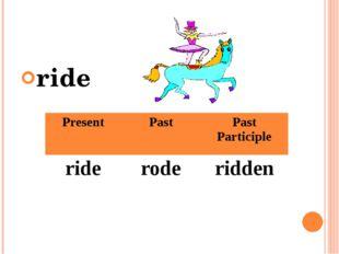 ride Present Past Past Participle ride rode ridden
