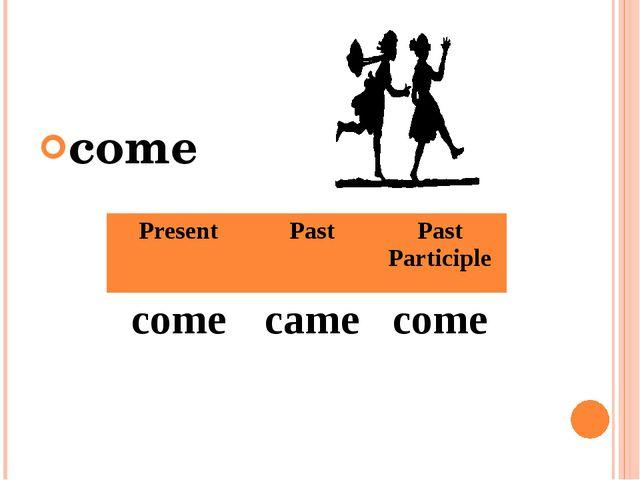 come Present Past Past Participle come came come