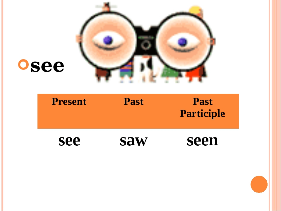 see Present Past Past Participle see saw seen