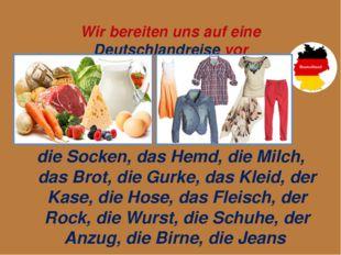 Wir bereiten uns auf eine Deutschlandreise vor die Socken, das Hemd, die Mil