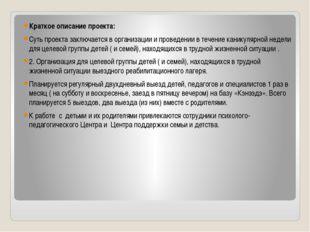 Краткое описание проекта: Суть проекта заключается в организации и проведени