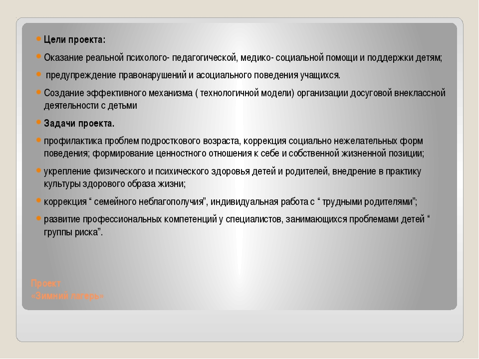 Проект «Зимний лагерь» Цели проекта: Оказание реальной психолого- педагогич...