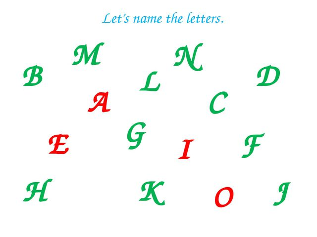 B A L E C G D I F H J K Let's name the letters. M N O