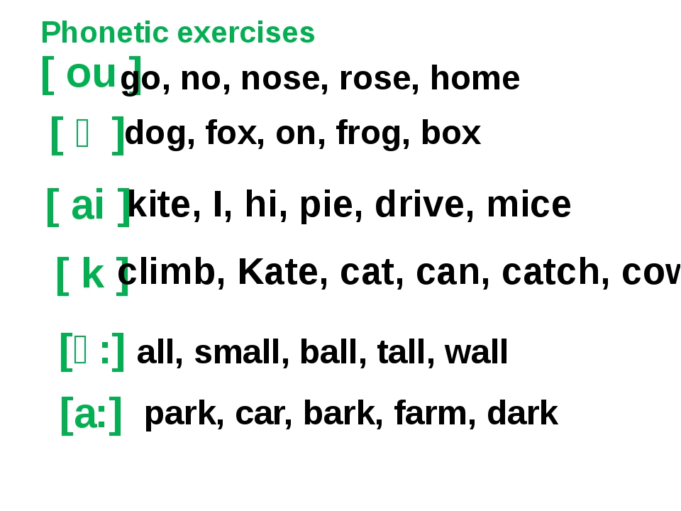 Phonetic exercises [ ou ] [ ai ] [ k ] kite, I, hi, pie, drive, mice go, no,...