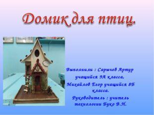 Выполнили : Сарычев Артур учащийся 9А класса, Михайлов Егор учащийся 8Б класс