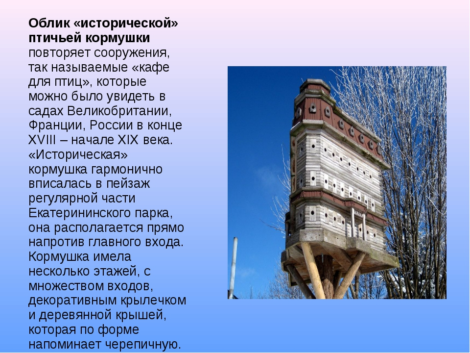 Облик «исторической» птичьей кормушки повторяет сооружения, так называемые «к...
