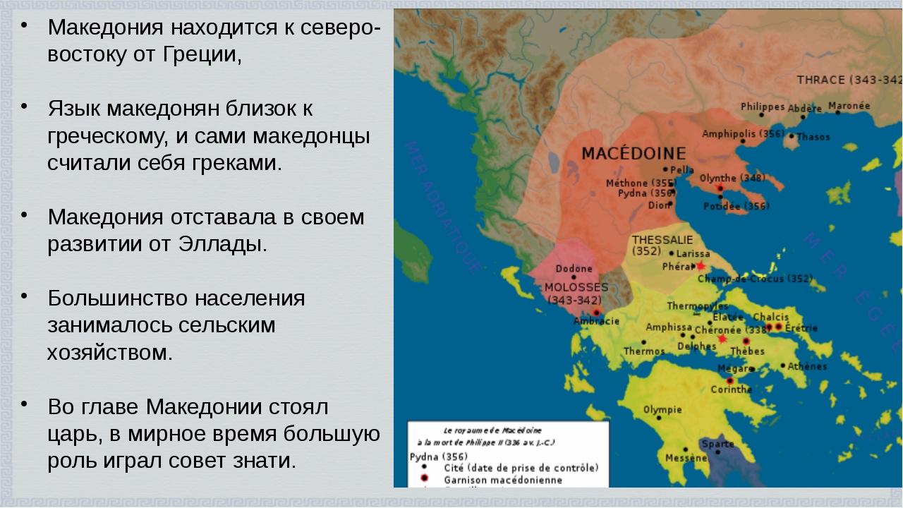 Македония находится к северо-востоку от Греции, Язык македонян близок к грече...
