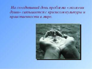 На сегодняшний день проблема «экологии души» связывается с кризисом культуры