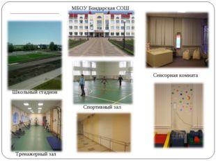Сенсорная комната Школьный стадион Тренажерный зал Спортивный зал МБОУ Бондар