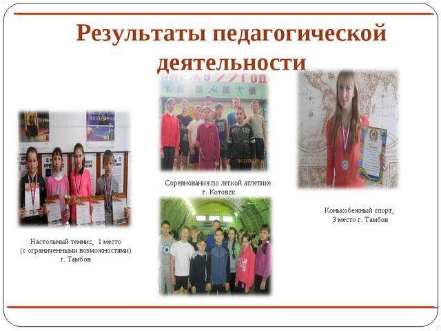 Результаты педагогической деятельности Настольный теннис, 1 место (с ограниче...