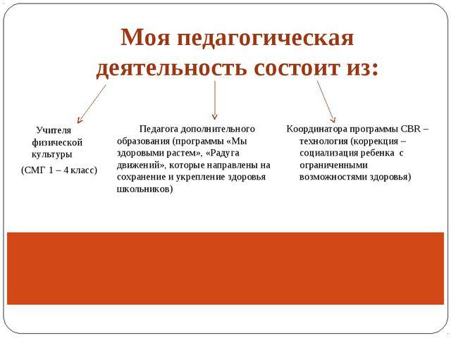 Моя педагогическая деятельность состоит из: Учителя физической культуры (СМГ...