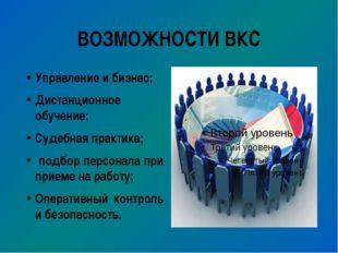 ВОЗМОЖНОСТИ ВКС Управление и бизнес; Дистанционное обучение; Судебная практик