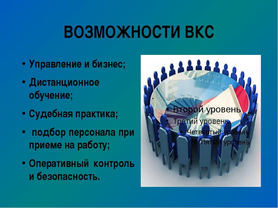 ВОЗМОЖНОСТИ ВКС Управление и бизнес; Дистанционное обучение; Судебная практик...