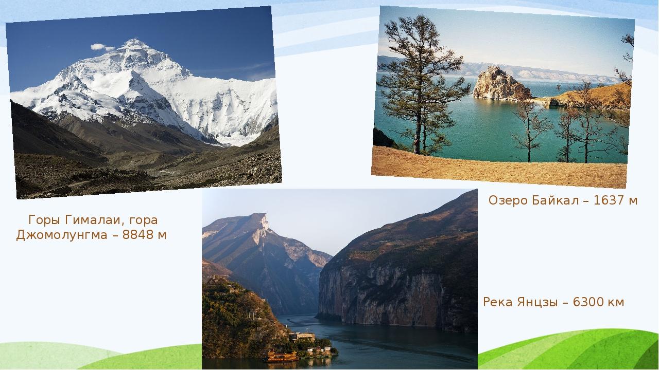 Горы Гималаи, гора Джомолунгма – 8848 м Озеро Байкал – 1637 м Река Янцзы – 63...