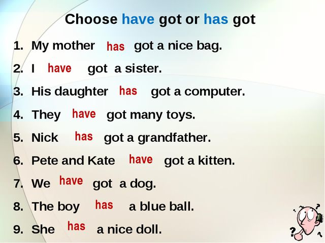 Choose have got or has got My mother got a nice bag. I got a sister. His daug...