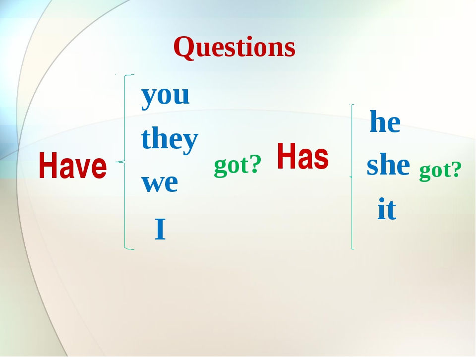 Questions Have you they we I Has he she it got? got?