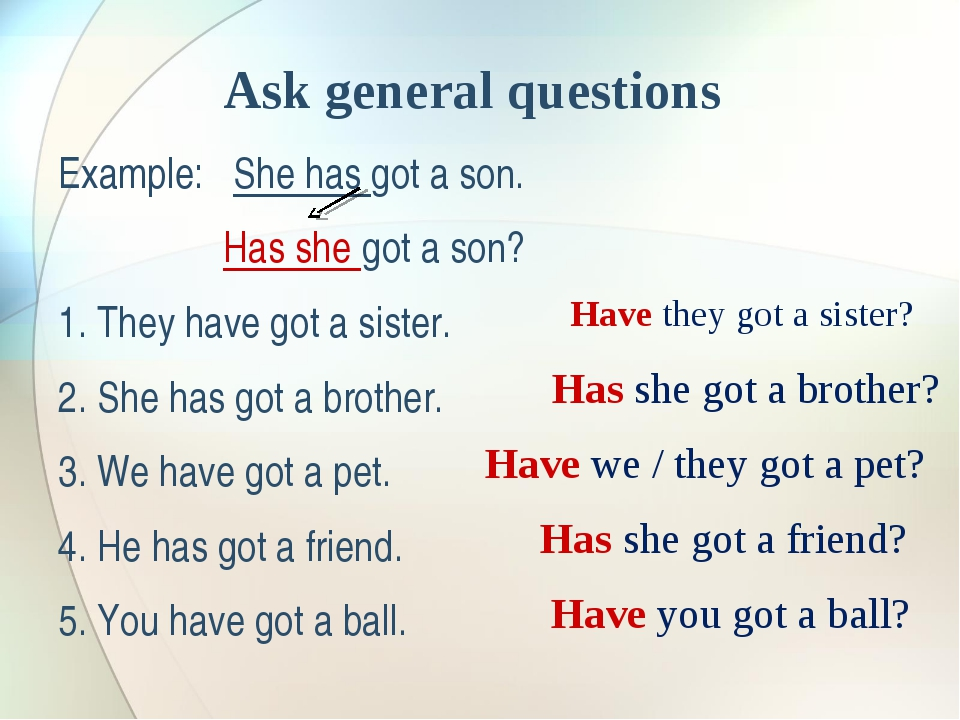 Ask general questions Example: She has got a son. Has she got a son? 1. They...