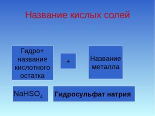Название кислых солей Гидро+ название кислотного остатка + Название металла N