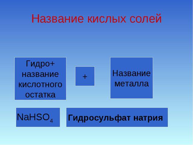 Название кислых солей Гидро+ название кислотного остатка + Название металла N...
